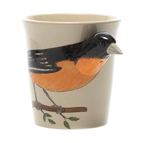 Baltimore Oriole Bird Black and White 8 ounce Glossy Ceramic Coffee Mug
