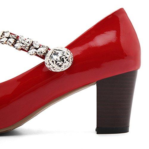Nine Seven Cuero Puntera Cuadrada Tacones de Tacón Grueso con Velcro para Mujer Rojo