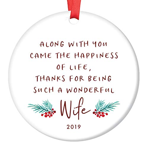 Husband to Wife Christmas 2019 Ornament Gift Idea Special Girl Wonderful Wife Poem Newlywed Groom to Bride Wedding Present Cute Holiday Ceramic Keepsake 3