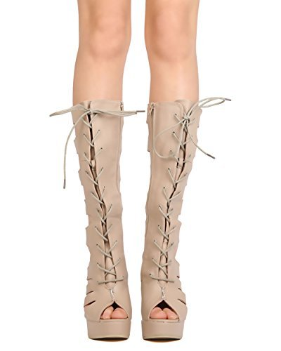 3d9e6eb8a5 Wild Diva Women Leatherette Knee High Lace Up Bandage Platform Chunky Heel  Boot GC80 - Natural