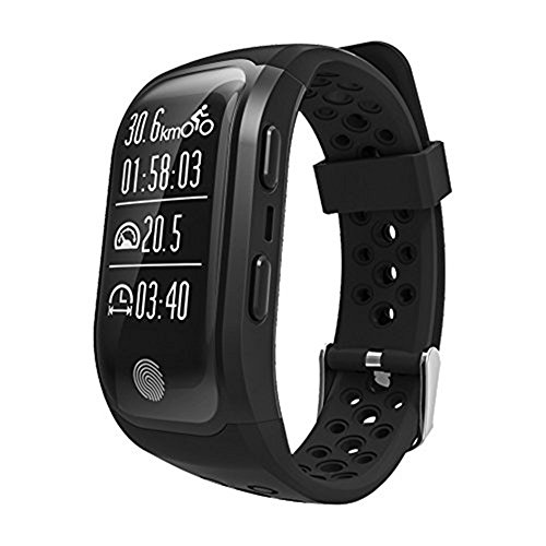 MeiLiio Fitness Smart Wristband Bracelet Tracker, Bluetooth Heart Rate Waterproof GPS Alarm Clock Smart Pedometer Ride Calories Sports Gym Swimming Smart Watch Men Women (Black) ()