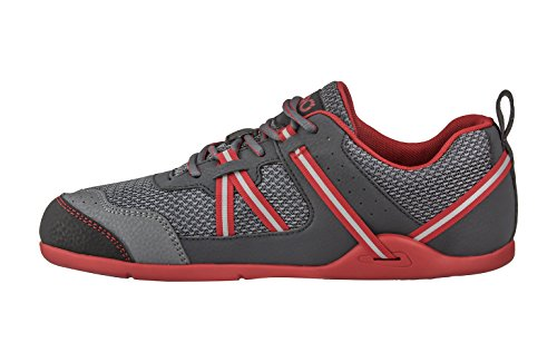 Xero Shoes Prio - Minimalist Barefoot Trail and Road Running Shoe - Fitness, Athletic Zero Drop Sneaker - Men's Charcoal Red
