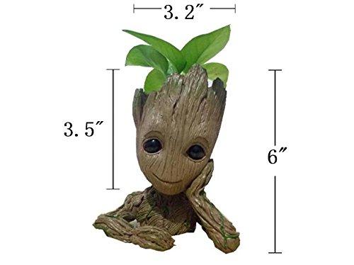6 Kawaii Polyresin Flowerpot Tree Baby Groot Succulent Planter Cute Green Plants Flower Pot with Hole Pen Pot Best Gifts For Kids Pinsjar
