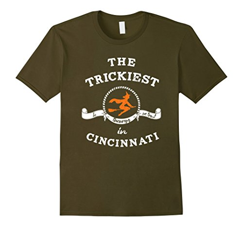Mens The Trickiest Witch In Cincinnati Halloween T-Shirt Funny Small Olive (City Of Cincinnati Halloween)