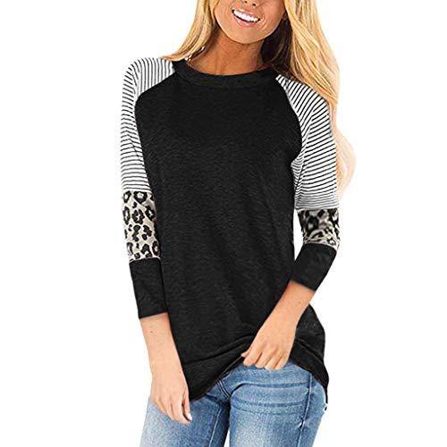 OTTATAT 2020 Womens Leopard Print Tunic Tops Crewneck Splicing Stripe Color Block Casual 3/4 Sleeves Shirt Pullovers