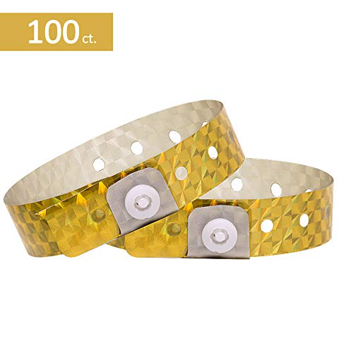 Ouchan Holographic Plastic Wristbands Gold - 100 Pack Wristbands for Events Parties]()