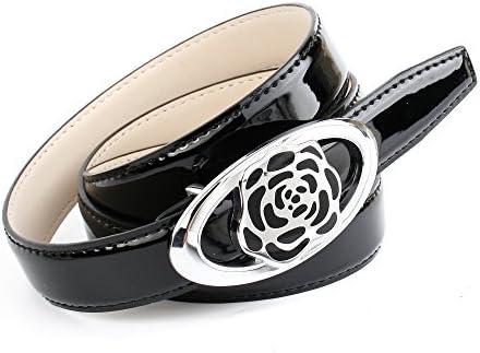 Anthoni Crown Damen Lackledergürtel mit Unterführung, schwarz 85-105 cm /N1BR00L