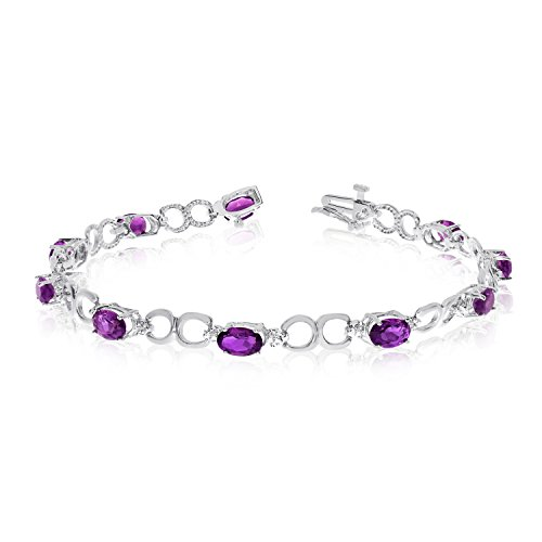 Diamond Open Link Tennis Bracelet (3.40 Carat (ctw) 10k White Gold Oval Purple Amethyst and Diamond Open Link Tennis Bracelet - 7