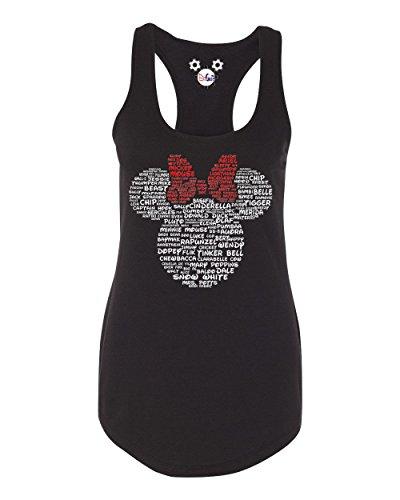 DisGear Minnie Disney Character Names Tank for Ladies (Black, Small) -