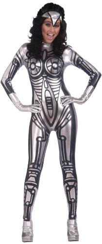 Gray Alien Costume (Forum Outta Space Female Robot Costume, Gray, One Size)