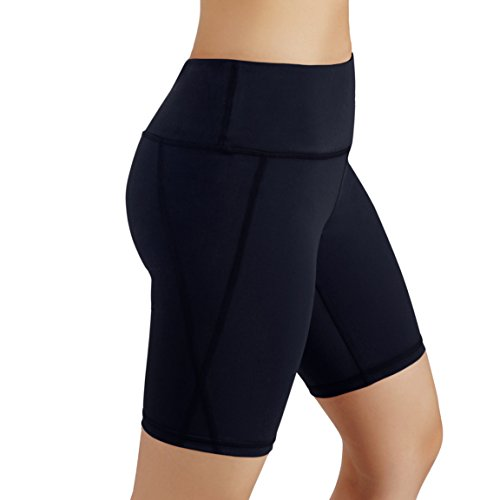 ODODOS Power Flex Women's Tummy Control Workout Running Shorts Pants Yoga Shorts With Hidden Pocket, Navy, X-Large