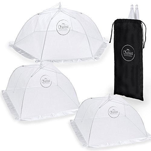 Chefast Food Cover Tents (5 Pack) - Combo Set of Pop Up Mesh Covers in 3 Sizes and a Reusable Carry Bag - Umbrella Screens to Protect Your Food and (Food Net)