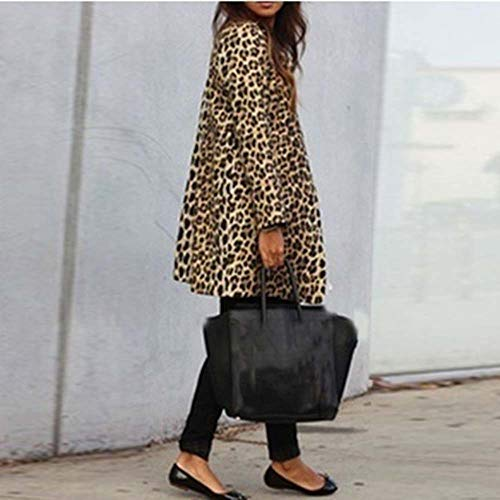 leopardata e tinta pelliccia in con maniche Cappotto marrone superiore stampa Cardigan invernale qualità Amuster sintetica lunghe donna lana di Cappotto unita con in cappuccio OqABZ4x