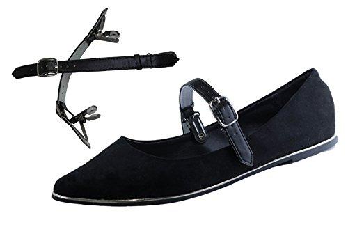 Abnehmbare Schuhbänder - Halten Sie lose Heels, Wedges, Flats Doppelclip Schwarz (Flats / Wedges)