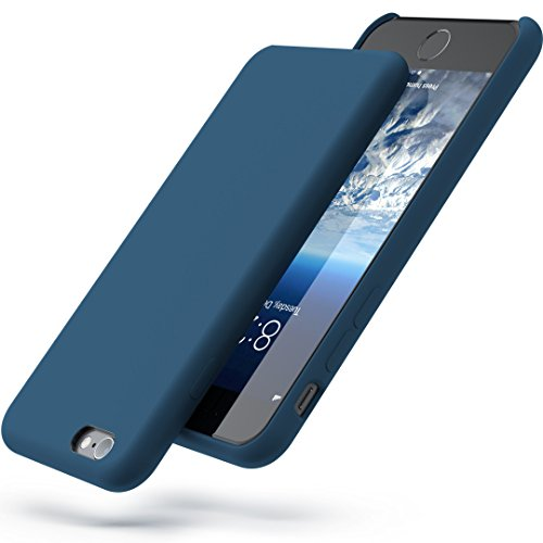 PowerBear iPhone 6 Case/iPhone 6S Case | Slim Soft Touch Liquid Silicone Gel Rubber Case | Shock Absorption and Anti Scratch Finish | for the Apple iPhone 6/6S - NAVY BLUE [24 Month Warranty] (Silicone Clear Blue)