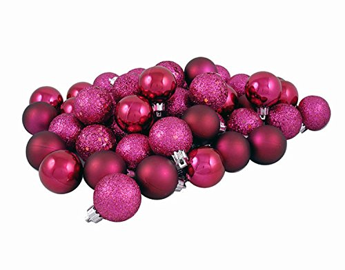 Vickerman 60 Count Red Raspberry Shatterproof 4-Finish Christmas Ball Ornaments, 2.5