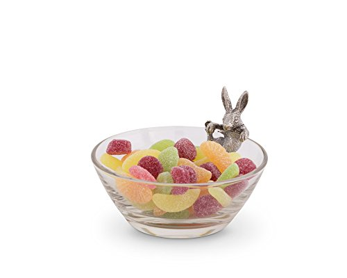 (Vagabond House Glass Dip/Candy / Snack Bowl with Pewter Climbing Bunny: 5