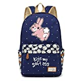 Funny Bunny Flower Wave Point Canvas Backpack