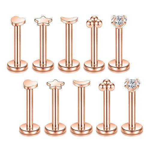 GAGABODY 5 Pair Lip Ring Stud 16G Heart Star Labret Ear Studs Moon Monroe Body Piercing Jewelry Set