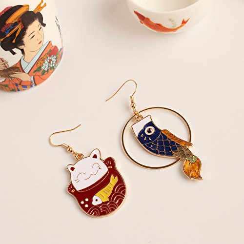 (Japanese Exquisite Cute Lovely Sweet Lucky cat koi Asymmetric Handmade Earrings Earring Dangler Eardrop No Pierced Ear Clip Women Girls (koi Orange cat, Blue Fish Ear Hook one)