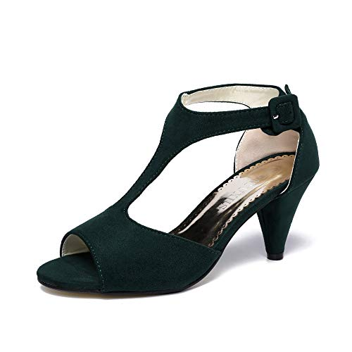 GATUXUS Women Open Toe Ankle T-Strap Kitten Heel Mary Jane Shoes Mid Heel Sandals (Dark Green, 9 B(M) US)