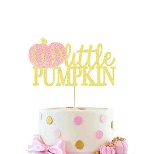 HEETON Little Pumpkin Cake Topper Pink Girl Fall Baby Shower Birthday Halloween Thanksgiving Pumpkin Party Decorations Supplies