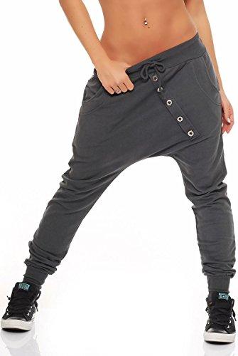 malito Pantalón Boyfriend Classic Botón Baggy Aladin Bombacho Sudadera 8023 Mujer Talla Única gris oscuro