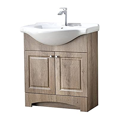 "RESSORTIR bathroom vanity, Weathered Oak - Size: 26"" Wide by 19"" Deep by 37"" Tall FAUCET AND POP UP DRAIN NOT INCLUDE Constructed in laminate composite wood with 2 door - bathroom-vanities, bathroom-fixtures-hardware, bathroom - 41iUnt1%2BLEL. SS400  -"