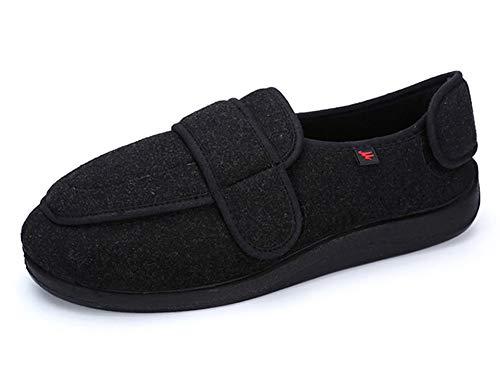 Mei MACLEOD Women Diabetic Slipper Swelling Feet Extra Wide Width Arthritis Edema Memory Foam Shoes (7.5, Black Women) (Home Remedy For Swollen Feet Due To Arthritis)