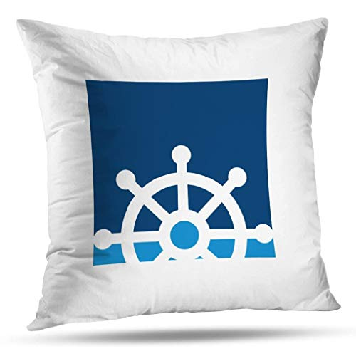 (KJONG Navy Ships Wheel Nautical Zippered Pillow Cover,Square Decorative Throw Pillow Case Fashion Style Cushion Covers(20 x 20 inch,Two Sides Print))