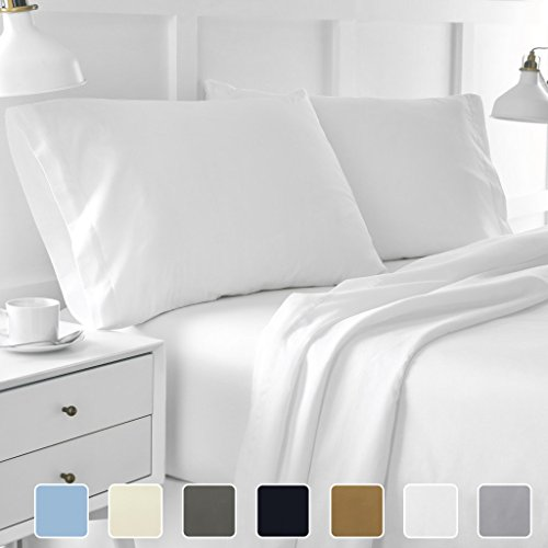 - Cottington Lane Bed Sheet Set Short Queen White 4 pieces 400 TC 100% Cotton Upto 15 Inches Deep Pocket