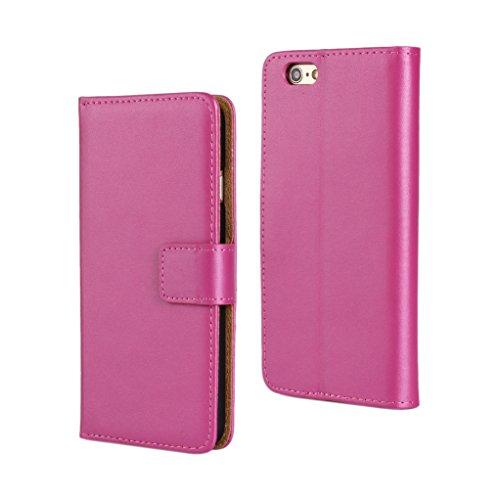 Trumpshop Smartphone Carcasa Funda Protección para Apple iPhone 6 / iPhone 6s (4.7-Pulgada) + Rojo + Ultra Delgada Cuero Genuino Caja Protector con Función de Soporte Choque Absorción Violeta