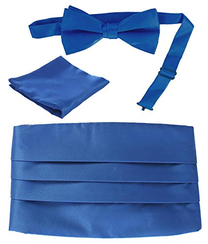 Gioberti Kids/Boys' Adjustable Satin Cummerbund Set With Formal Bow Tie and Pocket Square, Royal Blue