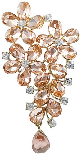 (Bijoux De Ja Gold-Plated Base Floral Festoon Crystal Rhinestone Brooch Pin (Peach))
