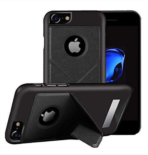 For iPhone 7 Leather Case Foldable 3-Way Stand with Mirror(4.7