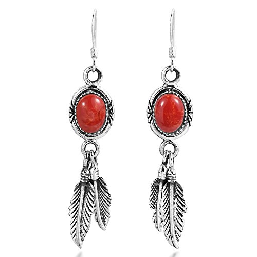 Bohemian Reconstructed Red Coral Double Feathers .925 Sterling Silver Dangle Earrings (Double Feather Earrings)