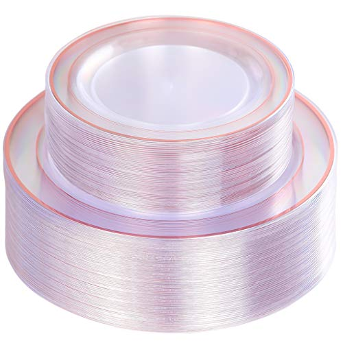 96 Pieces Clear Plastic Plates, Elegant Rose Gold Plates Includes: 48 Dinner Plates 10.25
