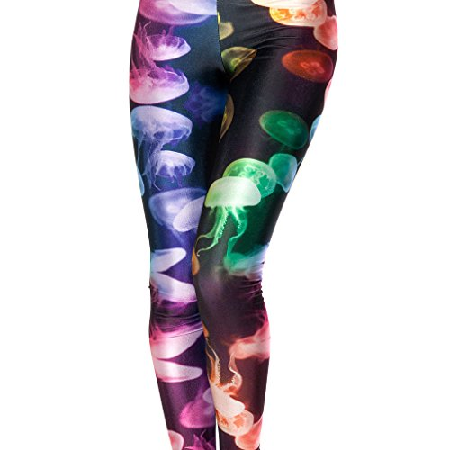 Colorful Jellyfish Women's Slim Graphic Printed Pattern Stretchy Pencil Pants Sexy Tights Jegging
