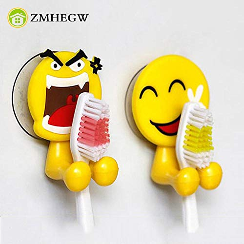 Home Storage - 2PCS Cute Expression Sucker Toothbrush Holder Bathroom Cartoon Toothbrush Racks Bathroom Accessories Toothpaste banheiro