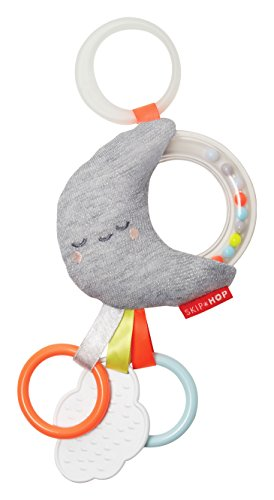 Skip Hop Baby Silver Lining Cloud Rattle Moon Stroller Toy, Multi, Clouds