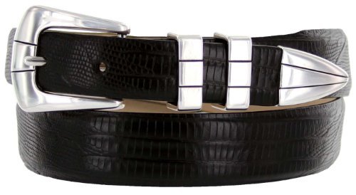 Vince Italian Calfskin Leather Designer Golf Dress Belt for Men (34, Lizard Black)