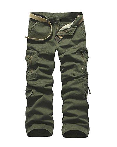 Cargo Homme Taille Variée Pantalons Multiples Armée De Poches sans Quge Herbe Travail Ceinture Verte Couleur aRtwIPzq