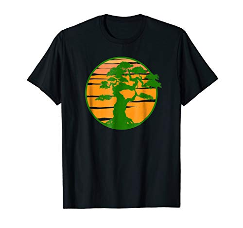 Japanese Bonsai Tree Yellow Sun T-Shirt Karate Zen Bonsai -
