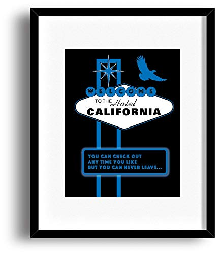 Hotel California by The Eagles - Song Lyrics Inspired Wall Print - Matted and Framed Options (Hotel California Lyrics)