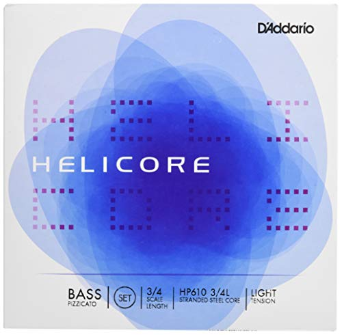 D'Addario Helicore Pizzicato Bass String Set, 3/4 Scale, Light Tension (Tension Gold Set Bass)
