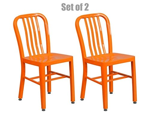 Classic Industrial Style Metal Frame School Restaurant Dining Chair Indoor Outdoor Furniture Orange #1059 by Koonlert@shop
