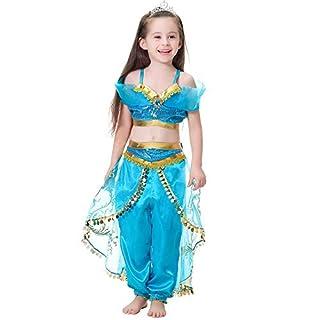 Ecparty Girls Princess Jasmine Costume Halloween Party Dress Up (4T, Jasmine Costume - Bule)