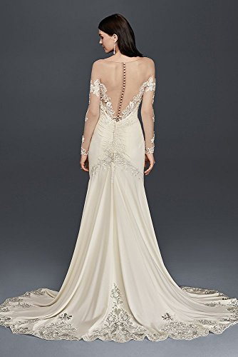 Crepe Wedding Dress with Lace Inset Train Style SWG763