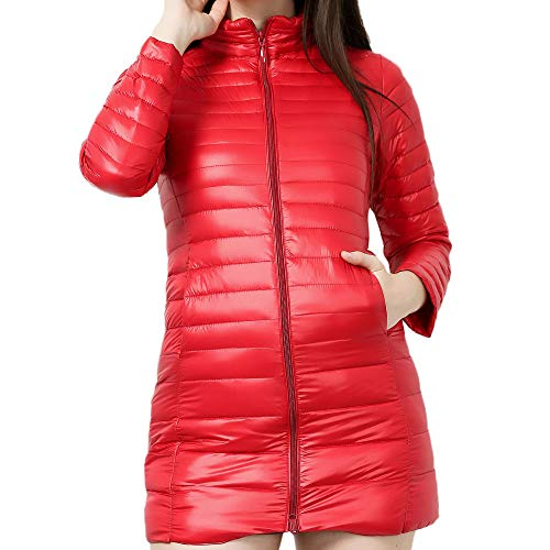 FEDULK Women's Jacket Winter Warm Lightweight Packable Coat Plus Size Stand Collar Solid Colour Outwear (Red, US Size 4XL = Tag 5XL) ()