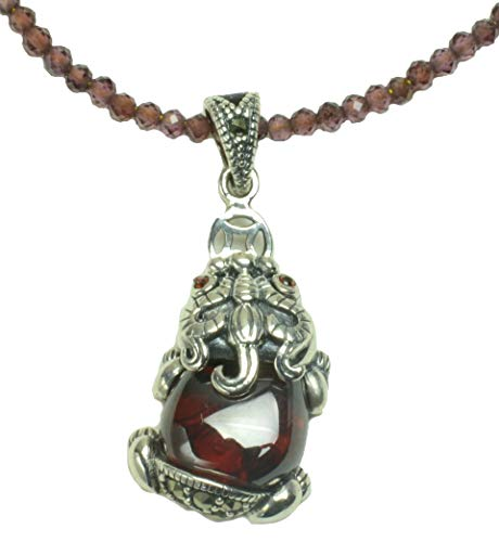 (Elegant Little Sterling Silver Tiger Marcasite Ruby Red Corundum Amulet Garnet Beaded Necklace, Feng Shui Fashion Jewelry)